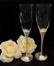 Elegance by Carbonneau FL-21083 Glass Wedding Toasting Flutes with Matt Silver Crystal Stem FL 21083