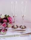 Elegance by Carbonneau FL-83633 Pink Glitter Glamour Wedding Toasting Flutes FL 83633