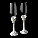 Elegance by Carbonneau FL-Victorian-451 Lovely Victorian Lace Wedding Toasting Champagne Flutes 451