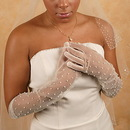 Elegance by Carbonneau GL-7002-12A Sheer Bridal Glove with Scattered Pearls GL7002-12A