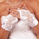 Elegance by Carbonneau GL-9134-2W Satin Fingerless Wrist Length Bridal Gloves GL 9134 2 W