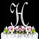 Elegance by Carbonneau H-Sparkle-Silver Sparkle ~ Swarovski Crystal Wedding Cake Topper ~ Silver Letter H