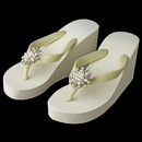 Elegance by Carbonneau High-Wedge-Brooch-30 Flower Rhinestone & Pearl High Wedge Flip Flops