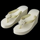 Elegance by Carbonneau High-Wedge-Brooch-31 Flower Cluster Rhinestone & Pearl High Wedge Flip Flops