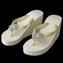 Elegance by Carbonneau High-Wedge-Brooch-37 Flower Rhinestone High Wedge Flip Flops