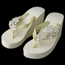 Elegance by Carbonneau High-Wedge-Clip-108 Floral Vine High Wedge Flip Flops with Rhinestone Accents