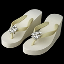 Elegance by Carbonneau High-Wedge-Clip-112 High Wedge Flip Flops with Multi Cut Rhinestones