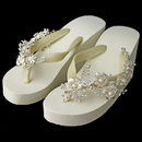 Elegance by Carbonneau High-Wedge-Comb-62 Floral Vine High Wedge Flip Flops with Rhinestone & Pearl Accents