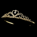 Elegance by Carbonneau HP-1010-G Gold with Clear Stones Heart Tiara HP-1010