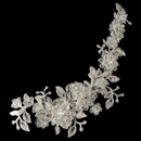 Elegance by Carbonneau HP-1265-IV HP 1265 Ivory lace flexible bridal hair applique accented with rhinestones, crystals & sequence ...