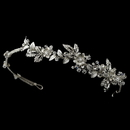 Elegance by Carbonneau HP-1536-RD-CL Silver Clear Crystal & Rhinestone Floral Side Headband Headpiece 1536