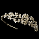 Elegance by Carbonneau HP-1542-LG-IV Light Gold Ivory Pearl & Rhinestone Vine Side Headband 1542