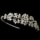 Elegance by Carbonneau HP-1542-S-IV Silver Ivory Pearl & Rhinestone Vine Side Headband 1542