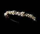 Elegance by Carbonneau HP-16488-Gold Elegant Gold Flower Leaf Garden Pearl Rhinestone Pearl Headband - HP 16488