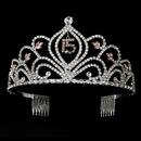 Elegance by Carbonneau HP-242-Pink-15 Pink Vintage Rhinestone Sweet 15 Quincea?era Tiara in Silver 242