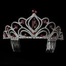 Elegance by Carbonneau HP-242-Red-16 Sparkling Vintage Red Rhinestone Sweet 16 Tiara in Silver 242