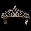 Elegance by Carbonneau HP-242-Gold-15 Vintage Rhinestone Sweet 15 Quincea?era Tiara in Gold 242