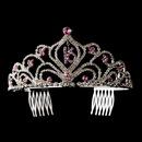 Elegance by Carbonneau HP-242-Amethyst-16 Sparkling Vintage Amethyst Rhinestone Sweet 16 Tiara in Silver 242