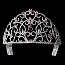 Elegance by Carbonneau HP-251-Silver-Pink-15 Royal Sweet 15 Quincea?era Silver Headpiece Covered in Clear & Pink Rhinestones 251