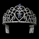 Elegance by Carbonneau HP-252-Silver-Blue-15 Glistening Quincea?era Sweet 15 Light Blue Princess Tiara in Silver 252