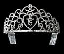 Elegance by Carbonneau HP-252-Silver-Clear-15 Glistening Quincea?era Sweet 15 Rhinestone Princess Tiara in Silver 252