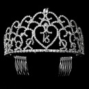 Elegance by Carbonneau HP-252-Silver-Clear-16 Glistening Sweet 16 Rhinestone Princess Tiara in Silver 252