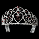 Elegance by Carbonneau HP-252-Silver-Red-15 Glistening Quincea?era Sweet 15 Red Princess Tiara in Silver 252