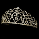 Elegance by Carbonneau HP-252-Gold-Clear-15 Glistening Quincea?era Sweet 15 or 16 Princess Tiara in Gold 252