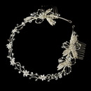 Elegance by Carbonneau HP-2732-S-Clear Elegant Hand Wired Flower Silver Bridal Headband Style Hair Piece with Rhinestone Swarovski Accents - HP 2732