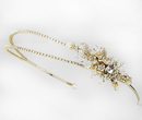 Elegance by Carbonneau HP-2913-G-Clear Gold Double Rhinestone Bridal Headband with Crystal Ornate Side Accent HP 2913