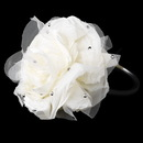 Elegance by Carbonneau HP-4029-B-Ivory Ivory Flower with Accented Rhinestones & Black Headband Headpiece 4029