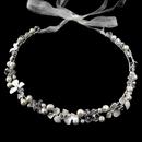 Elegance by Carbonneau HP-4367-S-IV Freshwater Pearl, Rhinestone & Swarovski Crystal Bead Ivory Sheer Ribbon Flower Headband 4367