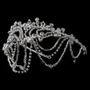 Elegance by Carbonneau HP-4463-S-CL Silver Clear Swarovski Crystal Bead & Rhinestone Headdress Draped Headband 4463