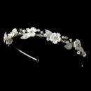 Elegance by Carbonneau HP-485-Ivory-Pearl Ivory Pearl & Rhinestone Flower Bridal Headband 485