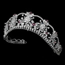 Elegance by Carbonneau HP-523-Silver-Light-Amethyst Sparkling Rhinestone & Swarovski Crystal Covered Tiara with Amethyst Accents in Silver 523