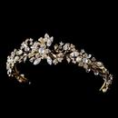 Elegance by Carbonneau hp-5317-gold Gold Pearl & Crystal Tiara 5317