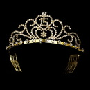 Elegance by Carbonneau HP-6031-Gold Radiant Gold Rhinestone Birthday Tiara Available in Sweet 15 or 16 Silver 6031