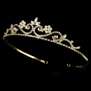 Elegance by Carbonneau HP-6240-G Crystal & Pearl Golden Bridal Tiara HP 6240