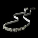Elegance by Carbonneau HP-6473 Silver Crystal Bridal Ribbon Bridal Headband Headpiece 6473