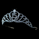 Elegance by Carbonneau HP-7032-Silver-Light-Blue-15 Sparkling Light Blue Covered Quincea?era Rhinestone Tiara in Silver 7032