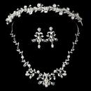 Elegance by Carbonneau Silver Clear Swarovski Crystal Bead, Rhinestone & White Pearl Headpiece 7112 & Jewelry Set 7208