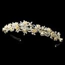 Elegance by Carbonneau hp-7539-s-champagne Silver Floral Rhinestone Champagne Elegance Bridal Pearl Headband 7539