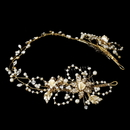 Elegance by Carbonneau HP-7711-Gold-Ivory Crystal & Pearl Vintage Vine Bridal Headpiece HP 7711 (Gold or Silver)