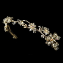 Elegance by Carbonneau HP-7802-G-Clear Golden AB Floral Headband HP 7802