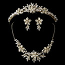 Elegance by Carbonneau Gold Ivory Flower Accent and Pearl Matching Floral Tiara Necklace & Earrings Jewelry Set 8100