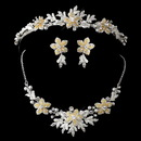 Elegance by Carbonneau Gold Champagne Flower Accent & White Pearl Matching Floral Tiara Necklace & Earrings Jewelry Set 8100