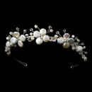 Elegance by Carbonneau HP-8137 Silver Floral Keshi Headpiece HP 8137