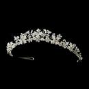 Elegance by Carbonneau HP-8176-S-Clear Silver Austrian Crystal Floral Bridal Tiara Headpiece 8176