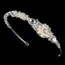 Elegance by Carbonneau HP-8262-S-Ivory Silver Freshwater Pearl Bridal Tiara HP 8262