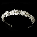 Elegance by Carbonneau HP-8267 Lovely Silver Clear Crystal & Ivory Flower Headpiece 8267